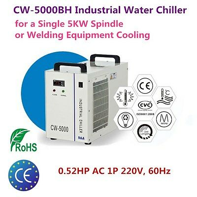 220V S&A Industrial Water Chiller CW-5000BH for 5KW Spindle / Welding Equipment