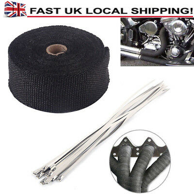 10m Performance Exhaust Heat Wrap Manifold Downpipe + 10 Cable Ties Pipe Tape