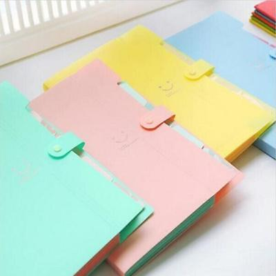 Candy Color 5 Layers Pockets A4 Paper File Folder Cover Holder Office Supplies H