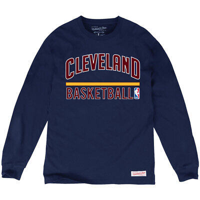 Cleveland Cavaliers Mitchell & Ness NBA Long Sleeve Stacked T-Shirt - Navy