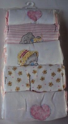 Ex  M&S Baby Girl Tatty Ted Teddy Pink 5 Pack Short Sleeve Bodysuit Vests 18/24