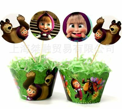 Pk Of 12 Masha And The Bear Cupcake Wrappers Linners Toppers Cake Decoration