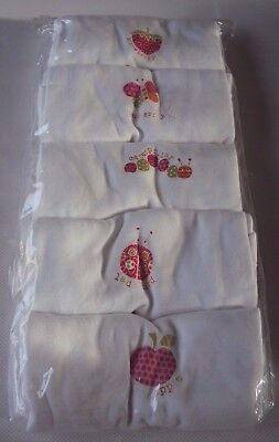 Ex  M&S Baby Girl Butterfly Ladybird  5 Pack Short Sleeve Bodysuit Vests 9/12
