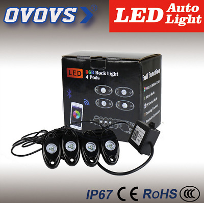 9W 4Pods Multi-color LED Light RGB Rock Lights With Bluetooth Controller For Car