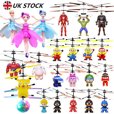 Flying Induction Aircraft Helicopter Fly Ball Minion Spiderman Toy Kid Xmas Gift