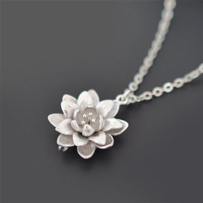 Women Silver Plated Lotus Flower Necklaces Pendants Elegant Necklace Jewelry