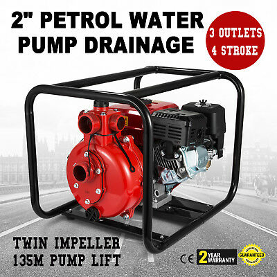 NEW 3Outlet Petrol Water Pump Transfer Flow Irrigation Fire Fighting 45000L/H