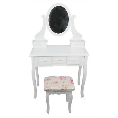 White Dressing Table Set Bedroom Mirror Makeup Vanity Desk with 5 Drawers &Stool