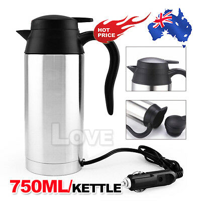 12V Portable In-Car Stainless Steel Kettle Camping Travel Water Bottle 750ml