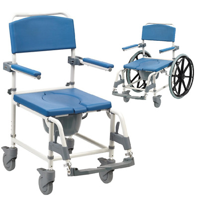 Aston Mobile wheeled shower commode + footrests transit self propel EX DISPLAY
