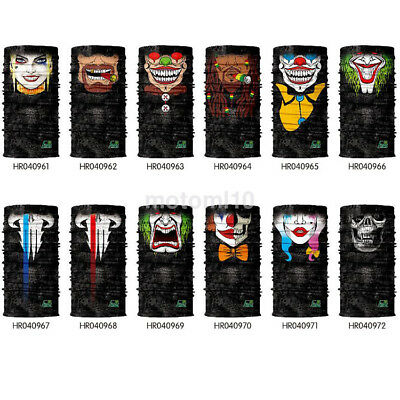 Useful 3D Print Clown Skull Neck Tube Scarf Motorcycle Cycling MTB Face Mask UK