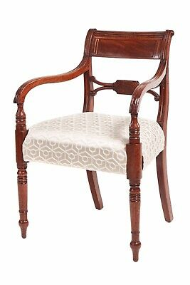 Regency Mahogany Brass Inlaid Elbow Chair