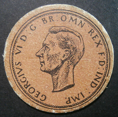 Toy money - Cardboard penny 1937 George VI - by Jack Klaw of London 30mm