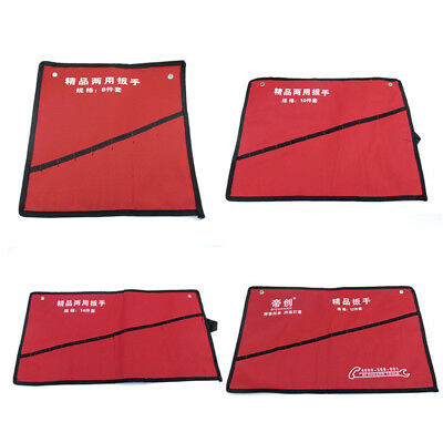 8/10/12/14 Pockets Spanner Wrench Tool Roll Up Storage Red Bag Durable Canvas