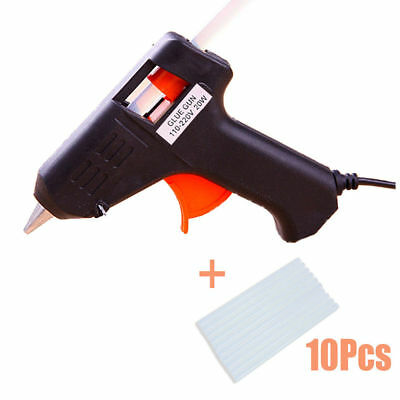 20W Electric Heating Hot Melt Glue Gun Art Craft Repair Tool +10X Glue Sticks