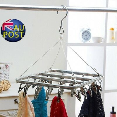 26 Peg Aluminium Metal Sock Underwear Clothes Airer Outdoor Dryer Laundry Hanger