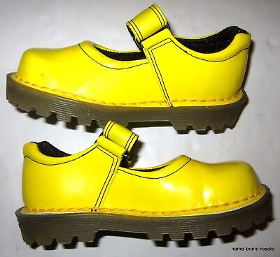 DR MARTENS Little Girls US Size 9 M Yellow Patent Leather Mary Janes Shoes DOCS
