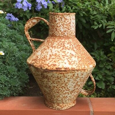 Display Antique FRENCH TOLEWARE WATERING CAN Rusty & Timeworn Gorgeous Shape