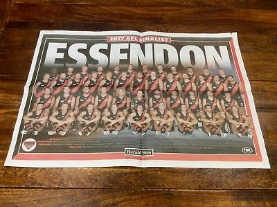 Essendon Bombers 2017 AFL Finals Team Poster Freepost New