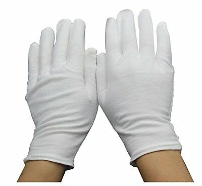 BESTCYC 12 Pairs 8.7 Inches Soft White Cotton Gloves Work Gloves Film Coins CD/D