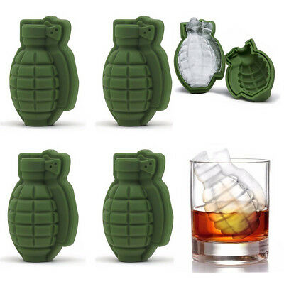 3D Grenade Shape Ice Cube Mold Maker Bar Party Silicone Trays Mold Kitchen Tool