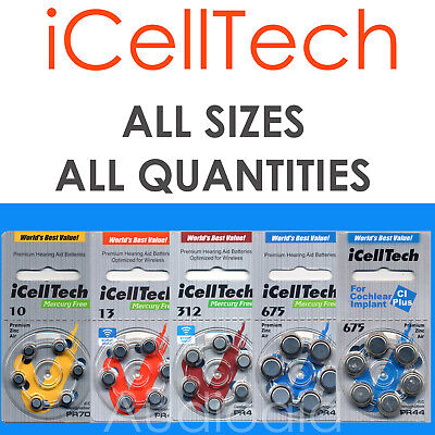 IcellTech Premium Hearing Aid Batteries - select your size & QTY
