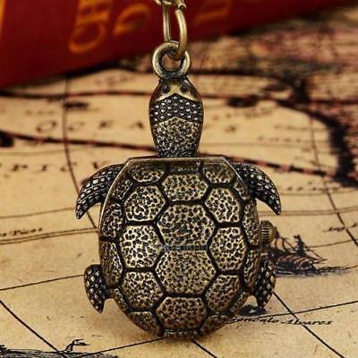 Cute Mini Turtle Tortoise Bronze Tone Pocket Watch Pendant Necklace + Extra Gift