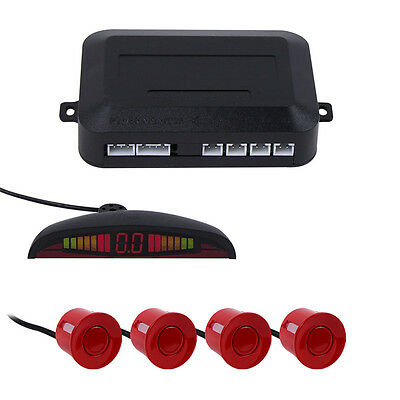 4 Parking Sensors Kit Car Backup Rear Reverse Radar System +LED Display Red