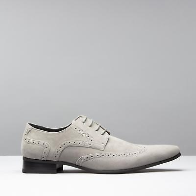 e4602137371 Mister Carlo SALVATORE Mens Pointed Formal Funky Gangster Faux Suede Shoes  Grey