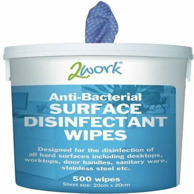 2Work Disinfectant Wipes Tub 500 EBSD500, Kills 99% of viruses [CPD24700]