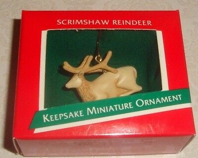 "Hallmark Keepsake ""scrimshaw Reindeer"" Miniature Wildlife Ornament - Nib"