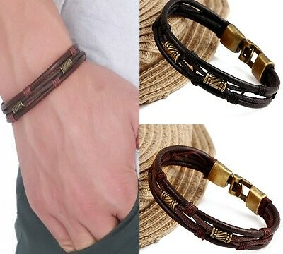 Real Leather Surfer Style Wristband Wrist Strap Band Bracelet Black Brown A105-6