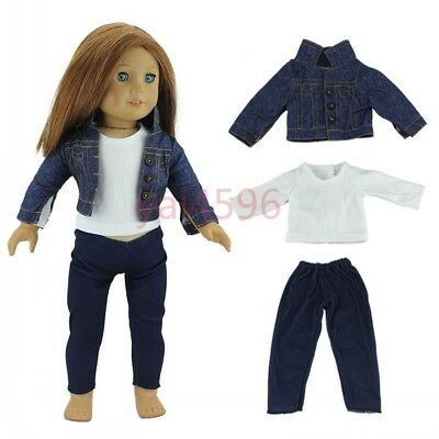 3pcs/set coat + shirt + pants for American girl doll of 18 inch doll clothes