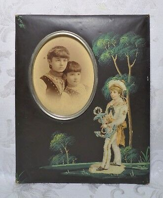 Antique 19th Century Victorian Folk Art Hand Painted Photo Picture Frame