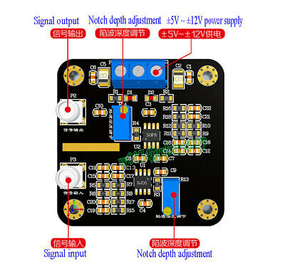 50Hz Notch Frequency High Q Value Notch Filter Module Signal Conditioning New