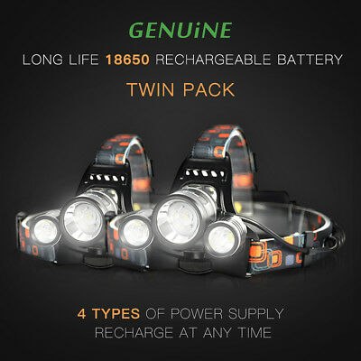 2X 2017 Rechargeable 15000Lm Cree 3T6 Xml Led Lamp Headlight Torch Flashlight