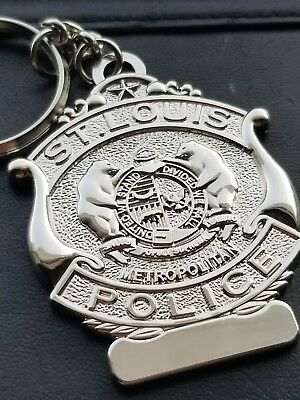 "2"" nickel plated St. Louis Police Badge Keychain"