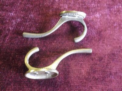 Pair Of Victorian Solid Brass Coat Hooks