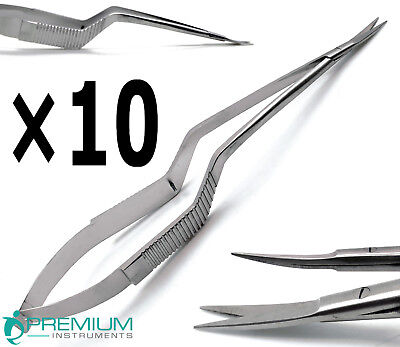 """10 Pcs New Micro Scissors 7.5"""" Yasargil Sharp/Sharp Curved Surgical Instruments"""