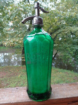 Vintage Antique Roxo Waukesha Seltzer Soda Syphon Bottle Emerald Green Glass