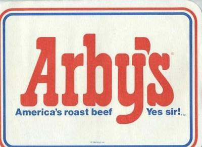 Arby's Placemat America's Roast Beef  Yes Sir! Restaurant