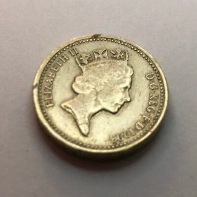 UK one pound coin royal arms 1993
