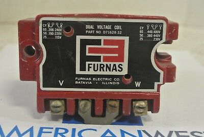 FURNAS D71628-32 Dual Voltage Coil 240 or 480 Volt - USED