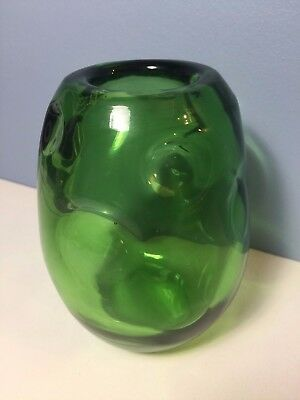 Vintage Blenko Style Green Art Glass Pinch Indented Vase