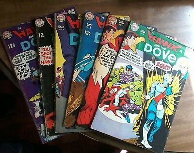 """Lot Of 6 """"hawk And The Dove""""  1960's #1, 2, 3, 4,  5, 6,"""