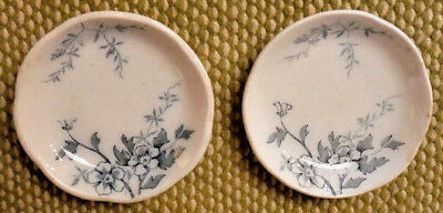 VTG Butter Pats 2 Blue Transferware Dishes BLOSSOM Pattern Alfred Meakin England
