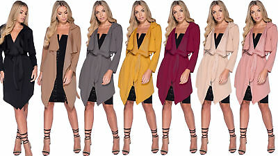 Women Short Duster Jacket Ladies French Belted Trench Waterfall Coat 8-28