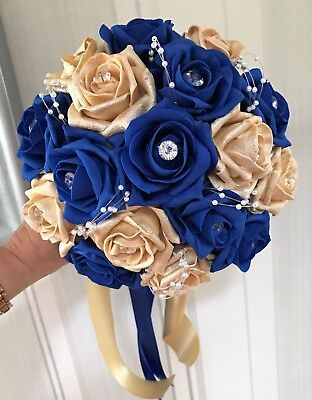 Bridesmaids Posy Bouquet, Royal Blue and Gold roses with pearl loops