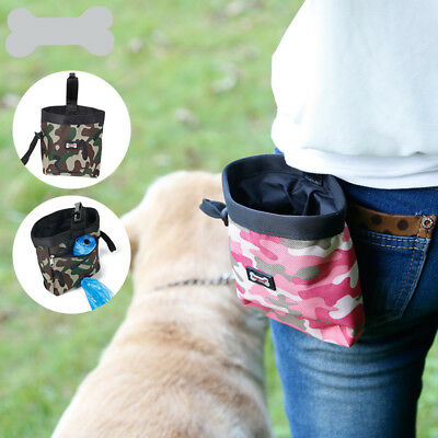 Dog Treat Pouch Snack Food Obedience Agility Training Dispenser Free Poop Bag