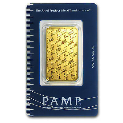1 oz Pamp Suisse New Design Gold Bar .9999 Fine in Assay Card